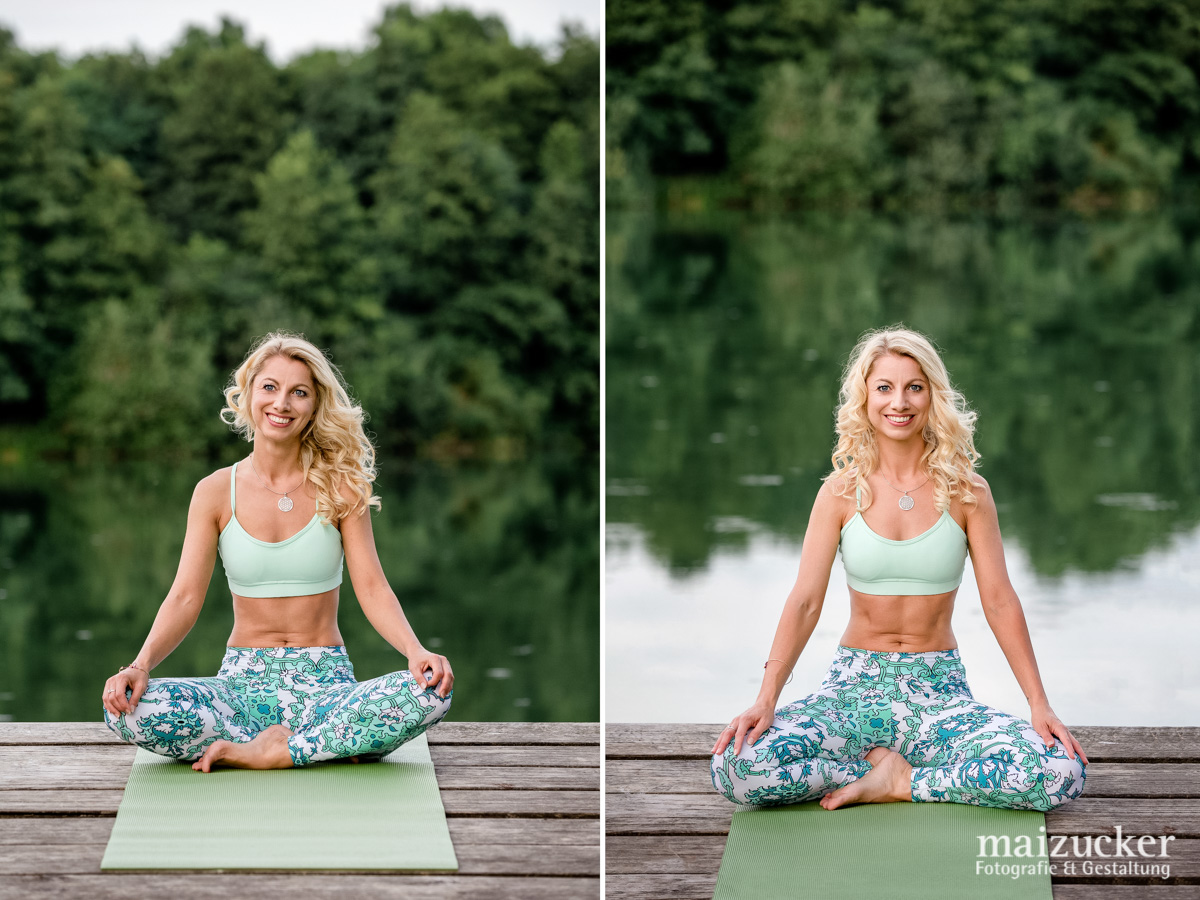 Businessportrait mit Yogalehrerin, Portraitshooting in der Natur, Imagebilder Yoga