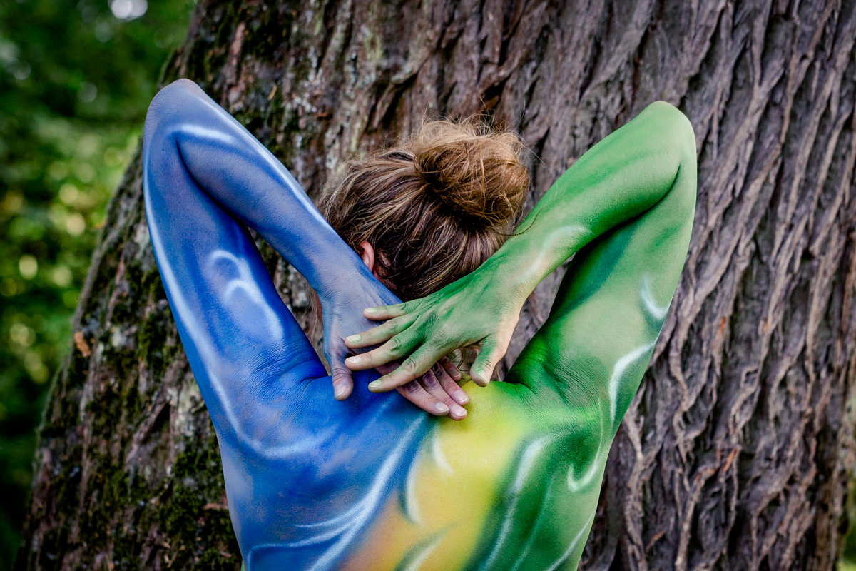 Bodypainting Fotoshooting, Shooting am Main, Peoplefotografie, Portrait, Daggi Binder, maizucker